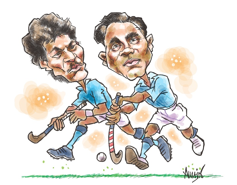 Dhanraj and Dhyan Chand. Illustration © Austin Coutinho