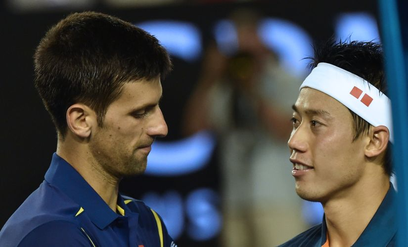 File photo of Kei Nishikori and Novak Djokovic. AFP