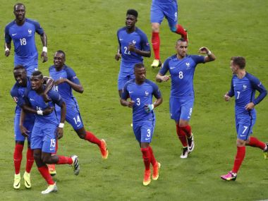 France players celebrate a goal during their match against Iceland. Reuters