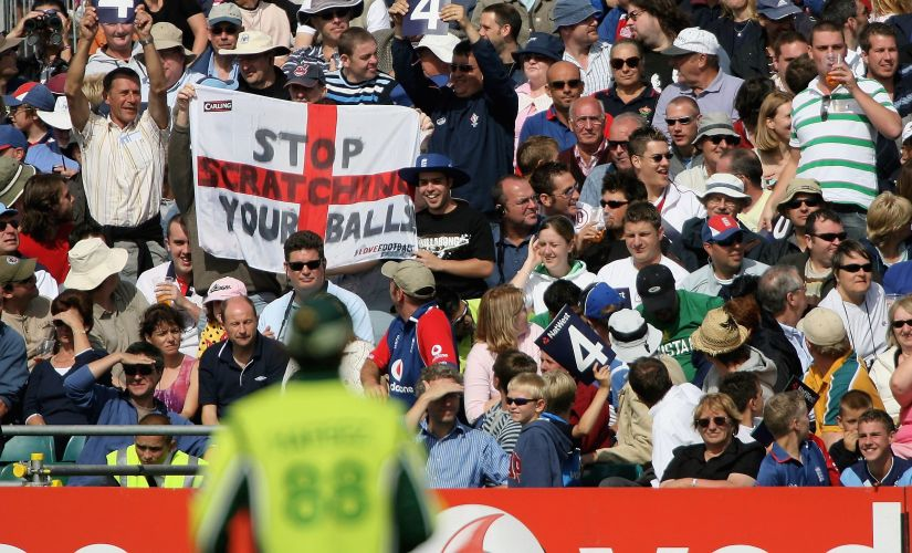 Supporters hold up a flag referring to the Oval Test match during the Natwest Twenty20 International between England and Pakistan. Getty