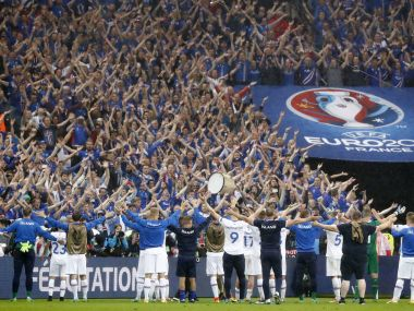 Iceland players applaud the fans at the end of the match against France. Reuters