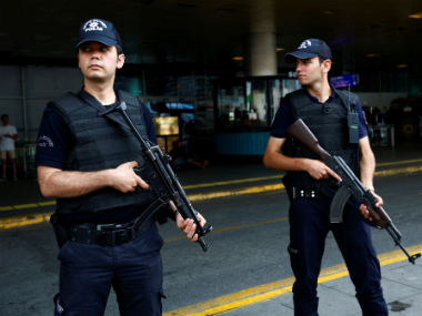 A file image of security forces patrolling the Istanbul airport. Reuters