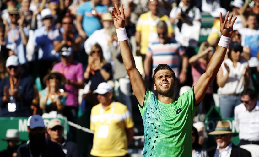 Czech Republic's Jiri Vesely exhults after pulling off a shock of a lifetime and beating Novak Djokovic. AFP