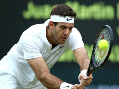 Juan Martin Del Potro in action during his second-round clash against Stan Wawrinka. Getty Images
