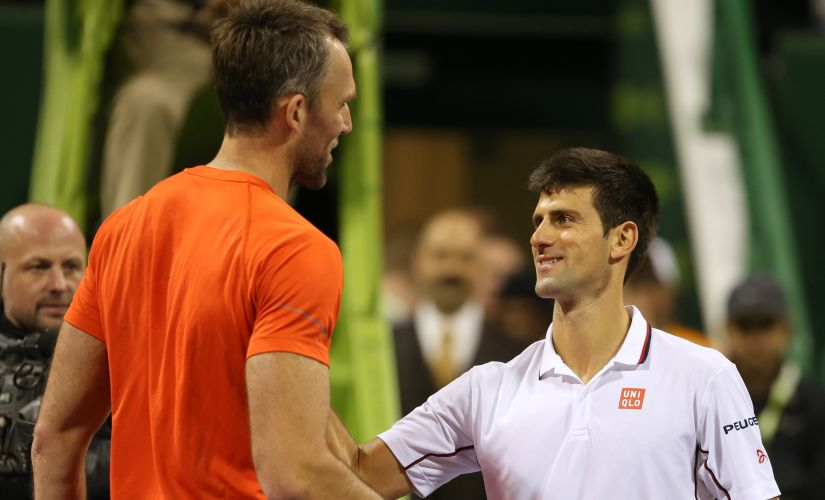 Ivo Karlovic after beating Novak Djokovic in the 2015 Qatar Open. AFP