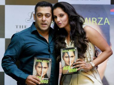 Sania Mirza launches her autobiography with Salman Khan. PTI