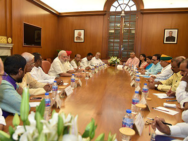 File image of Prime Minister Narendra Modi with his Cabinet ministers. PIB