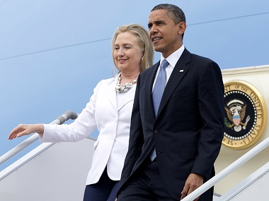 File photo of President Barack Obama and then-Secretary of State Hillary Clinton. AP