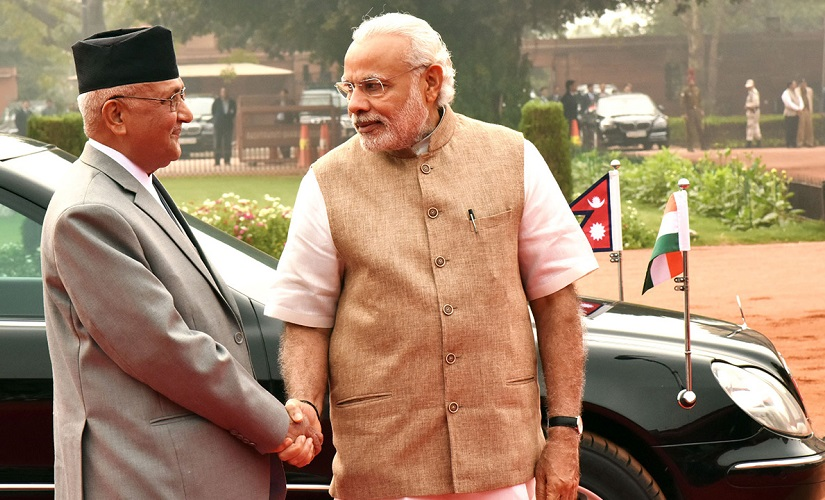 File image of KP Oli and Narendra Modi in New Delhi. PIB