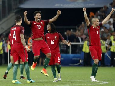 Portugal players celebrate their win. Reuters