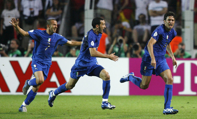 Italy's Fabio Grosso celebrates his goal against Germany with team mates Del Piero and Gianluca Zambrotta during their World Cup 2006 semi-final football match in Dortmund. Reuters