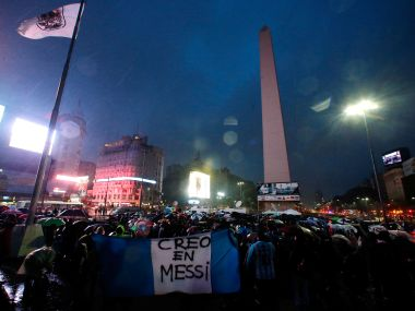 Fans gather in front of the Obelisk in support of Argentina's player Lionel Messi, and to ask him to come back to the national squad in Buenos Aires. Reuters