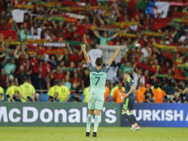 Cristiano Ronaldo celebrates at the end of the Euro 2016 semifinal match against Wales. AP