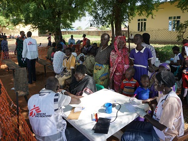 Medics from Doctors Without Borders (MSF) treat patients at a makeshift clinic in the grounds of the Catholic Catherdral in Juba. AFP