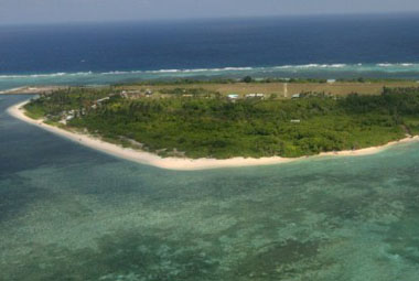 An aerial photo shows Thitu Island, part of the disputed Spratly group of islands, in the South China Sea. AFP