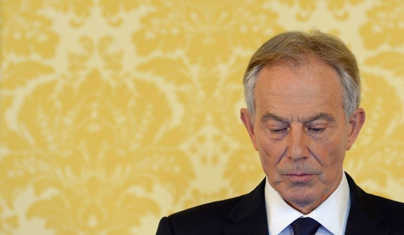 Former Prime Minister Tony Blair speaks during a news conference. AFP