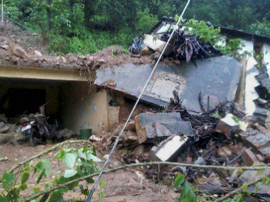 Several houses were demolished because of the cloudburst. PTI