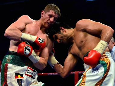 Vijender Singh in action during his bout against Kerry Hope. PTI
