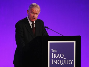 "Sir John Chilcot presents the Iraq Inquiry Report at the Queen Elizabeth II Centre in London, Wednesday, July 6, 2016. The head of Britain's Iraq War inquiry has released a damning verdict on a conflict he says was mounted on flawed intelligence, executed with ""wholly inadequate"" planning. AP"
