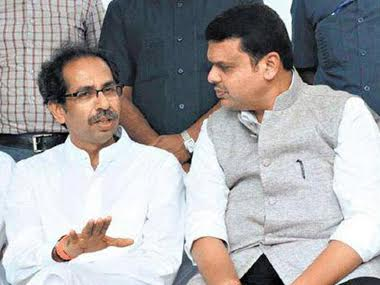 File image of Shiv Sena chief Uddhav Thackeray and Maharashtra Chief Minister Devendra Fadnavis. PTI