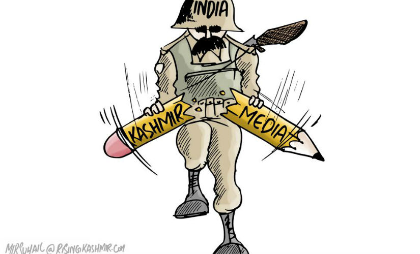 A cartoon carried by Rising Kashmir. Scrrengrab