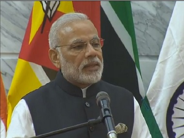 PM Narendra Modi at Maputo. Screenshot from PIB