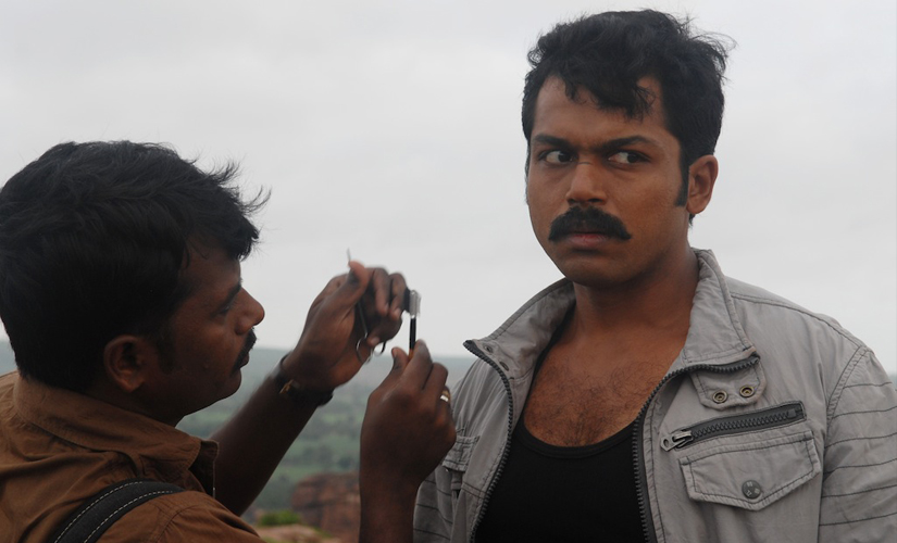 Karthik Sivakumar during a film shooting. Photo courtesy: Anand Pandian