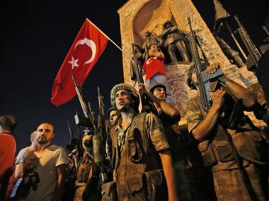 Turkish soldiers in Istanbul's Taksim square on Saturday.