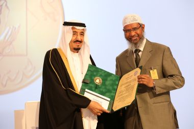 A file photo of Saudi King Salman bin Abdul Aziz presents Zakir Naik, president of the Islamic Research Foundation in India, with the 2015 King Faisal International Prize for Service to Islam in Riyadh. AFP