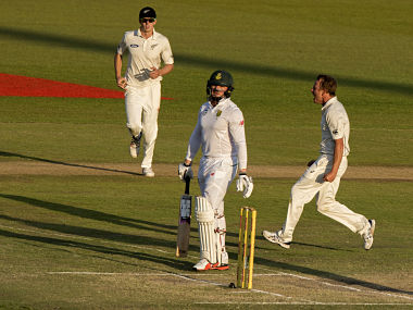 New Zealand bowler Neil Wagner celebrates the dismissal of South African batsman Stiaan van Zyl. AFP