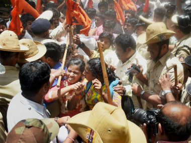 Bengaluru Police lathicharge ABVP protesters on Friday. PTI