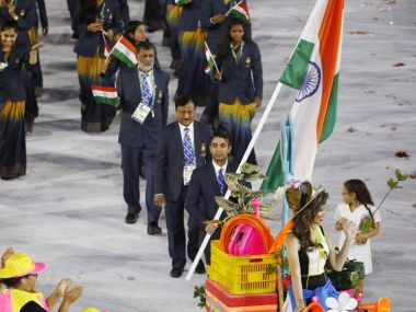 Abhinav Bindra as India's flagbearer at the Rio Olympics 2016 Opening Ceremony. Reuters