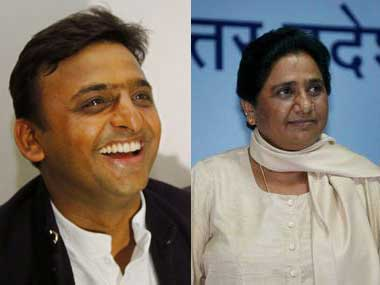File image of Uttar Pradesh chief minister Akhilesh Yadav and BSP chief Mayawati. Agencies