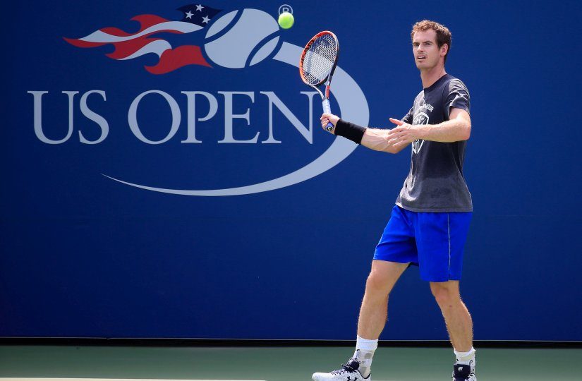 Andy Murray hits a shot during a practice session prior to the start of the 2016 US Open. Getty