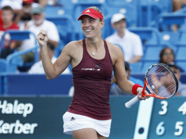 Angelique Kerber in action during her Cincinnati Open semi-final clash against Simona Halep. Getty Images