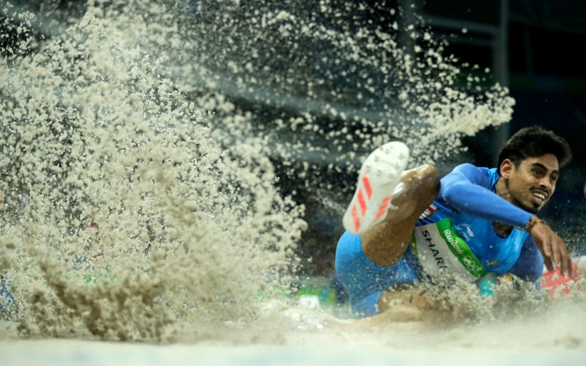 Ankit Sharma of India competes in the Men's Long Jump Qualifying. Getty Images