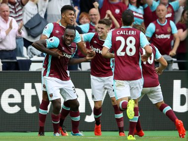 West Ham's Michail Antonio celebrates scoring for his side. AP