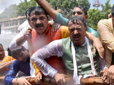 The police used water cannons to try to disperse the protesting BJP workers. PTI