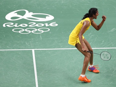 PV Sindhu reacts following her win over Japan's Nozomi Okuhara. AP