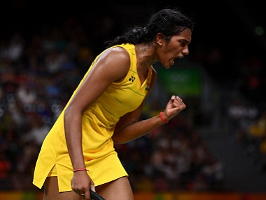 PV Sindhu celebrates winning a point against Nozomi Okuhara of Japan. Getty Images