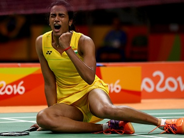 PV Sindhu celebrates her win over Yihan Wang of China. Getty Images