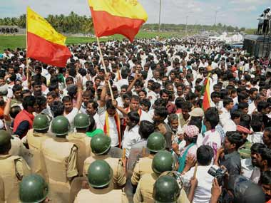 File image of activists protesting over the Cauvery river dispute in Chennai. PTI