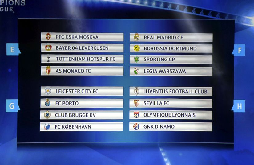 Final draw for the UEFA Champions League groups E,F,G,H. AP