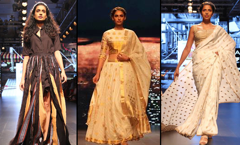 (L-R) Designs from Aagor Daagra Afad, Pariah and Naturally Anuradha. Image courtesy: Lakme Fashion Week/Facebook.