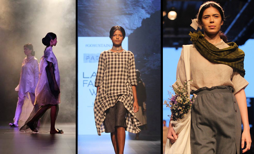 (L-R) Designs from P.E.L.L.A, Padmaja and Runway Bicyle. Image Courtesy: Lakme Fashion Week/Facebook.