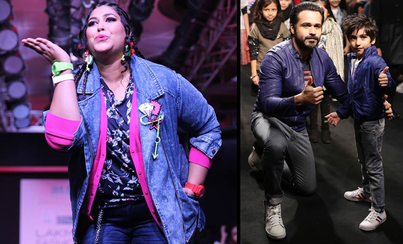 (From Left to Right)Little Shipla'c curation for 'aLL' and Emraan Hashmi for The Hamley's Show styled by Diesel.Image courtesy: Deepak Singh Karki for Lakme Fashion Week/Facebook.
