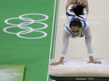 Dipa Karmakar trains on the vault ahead of the Rio Olympics. AP