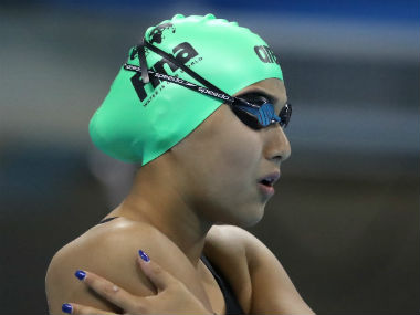 Gaurika Singh of Nepal prepares for the women's 100m backstroke heat on Day 2. Getty Images