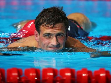 Ryan Lochte of the USA exits the pool after competing. Getty