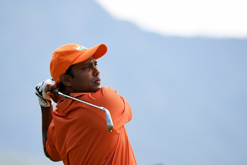 RIO DE JANEIRO, BRAZIL - AUGUST 11: Anirban Lahiri of India plays his shot from the fourth tee during the first round of men's golf on Day 6 of the Rio 2016 Olympics at the Olympic Golf Course on August 12, 2016 in Rio de Janeiro, Brazil. (Photo by Ross Kinnaird/Getty Images)